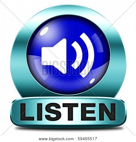 Listen live stream music box symbol song audio or radio button or icon
