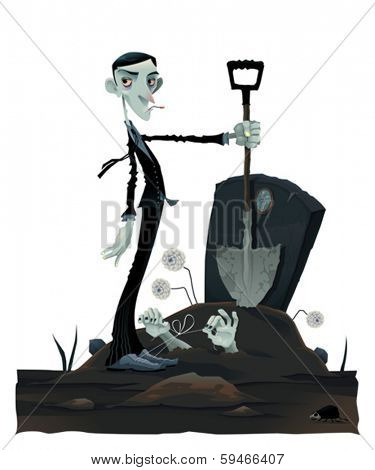 Funny scene in the cemetery. Cartoon and vector isolated illustration
