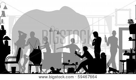 Silhouettes of a family gathering in a living room with an elephant in the background poster