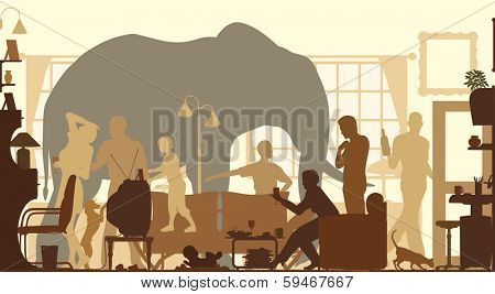 Silhouettes of an elephant standing in a living room during a family gathering