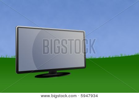 Blank Lcd Monitor With Landscape Background