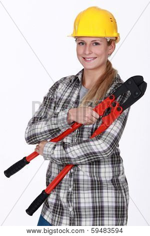 Closeup of smiling handywoman