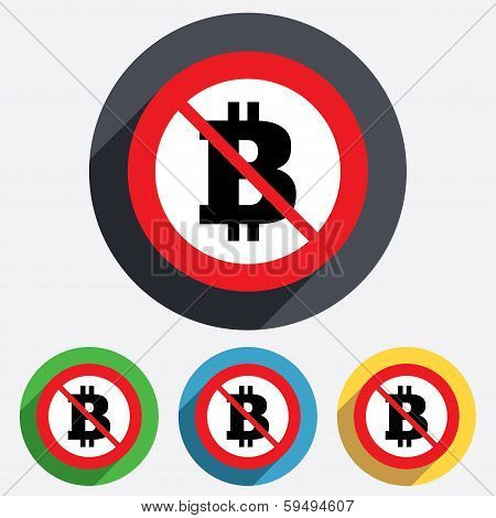 No Bitcoin sign icon. Cryptography currency symbol