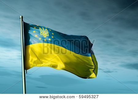 Europe & Ukraine waving flag on blue sky poster