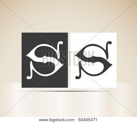 Vector letter S sign alphabet