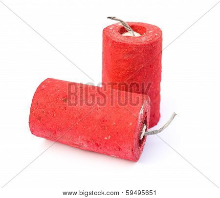 Red Firecrackers On A White Background