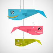 Paper Fish Hang on Strings on Grey Background poster