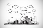 Cityscape doodle against white background with vignette poster