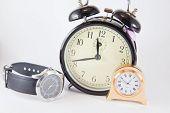 Alarm clocks group of objetcs white background poster