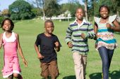 happy African american children running in the park poster