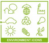 Set from six images of green color to the devoted environment protection poster