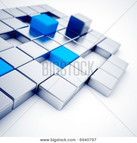 silver and blue metallic cubes