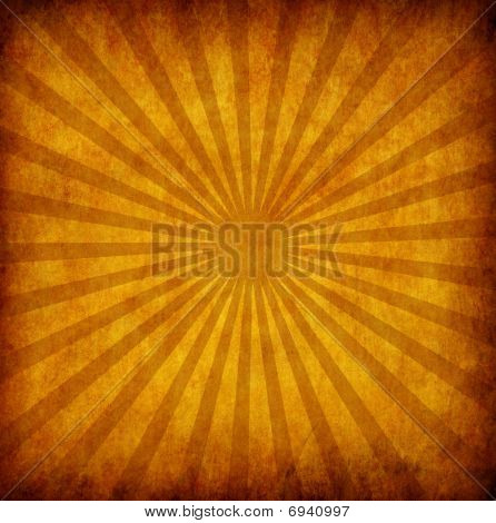 Yellow Vintage Grunge Background With Sun Rays