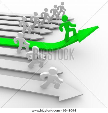 One Runner Pulls Ahead - Green Arrow