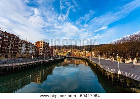 Cityscape Of Nervion River In The Center On Bilbao