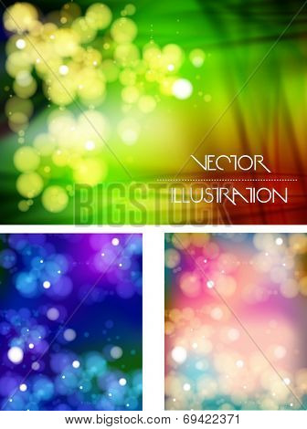 Abstract bokeh three collections background, easy all editable