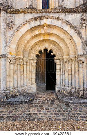 Main Door Of Petit Palais Et Cornemp Romanesque Church Gironde France