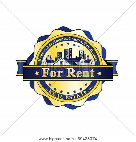 Real Estate - For Rent- Blue / yellow rubber stamp