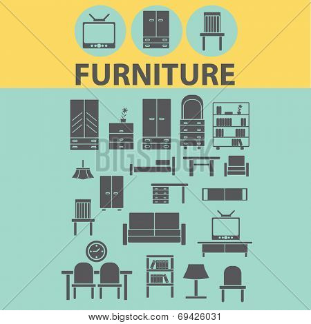 furniture, interiour, desk, chair black flat icons, signs, symbols set, vector