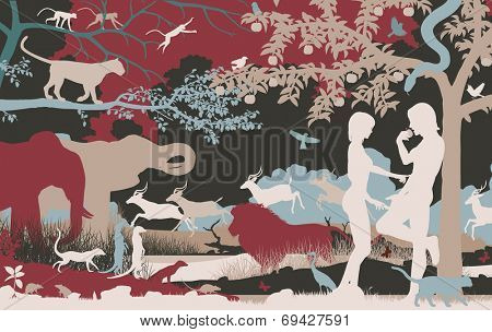 Illustrated silhouettes of Adam and Eve in the Garden of Eden poster
