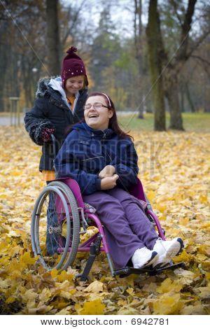 Handicapped girls in park