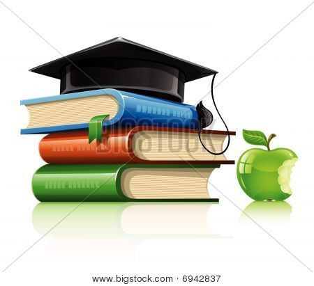 Pile Of School Books With Professor Cap And Apple