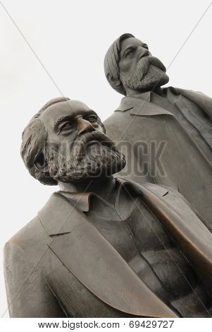 Karl Marx and Friedrich Engels monument in Berlin. Focus on nearest person. Date second of May 2010. Editorial image