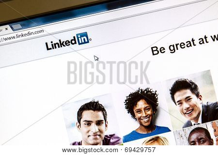 Ostersund, Sweden - August 3, 2014: Linkedin webpage on a computer screen. Linkedin is a business oriented social networking website.