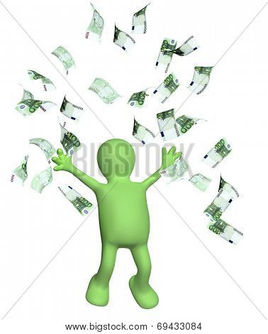Happy puppet and a banknotes of euro. Isolated on white background