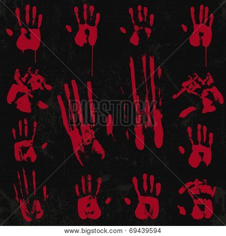 Bloody Hand Print Element Set 02