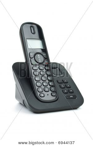 Modern black digital cordless phone with answering machine isolated on the white background poster