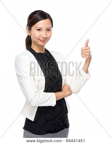 Asian businesswoman thumb up