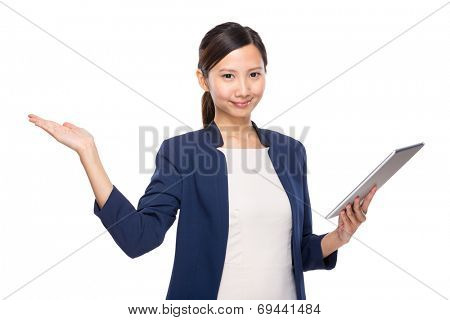 Woman present up with tablet