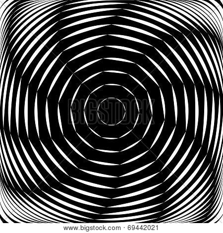 Design monochrome whirl movement illusion background. Abstract striped lines distortion backdrop. Vector-art illustration poster