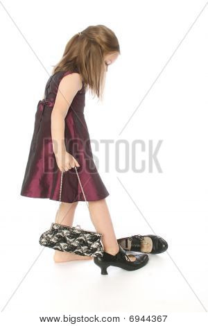Little Girl Trying Mom's Shoes