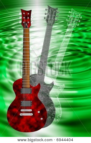 Red And Black Electric Guitars On Green Background