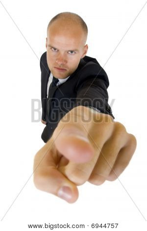 Wide Angle Picture Of A Businessman Pointing