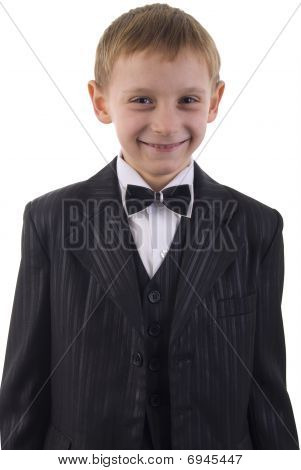 Young Man Suit Portrait. Studio Shoot Over White Background.