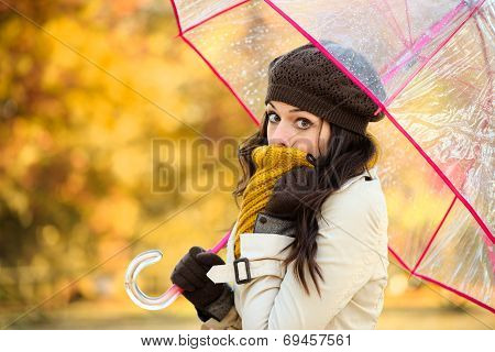 Woman In Cold Autumn With Umbrella