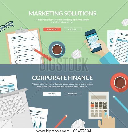 Set of flat design concepts for marketing solutions and corporate finance