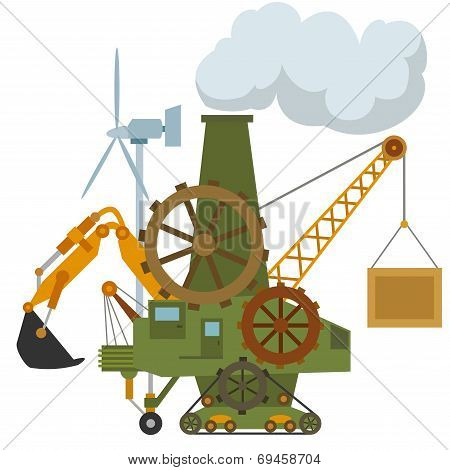 Universal Cartoon Machine Tractor Crane Gear