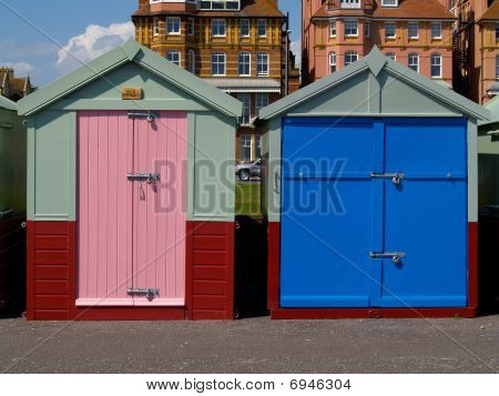 Two beach sheds at Hove, South England.