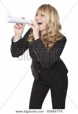 Playful Businesswoman Shouting Through A Tube