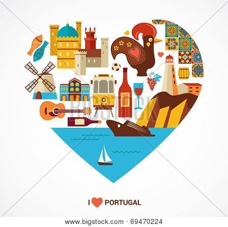 Portugal love - heart with vector icons and illustration, tourism and travel concept