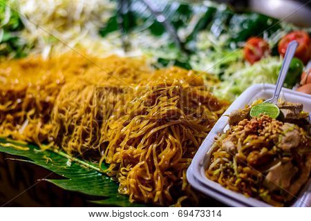 Pad Thai On Street Stall In Thailand