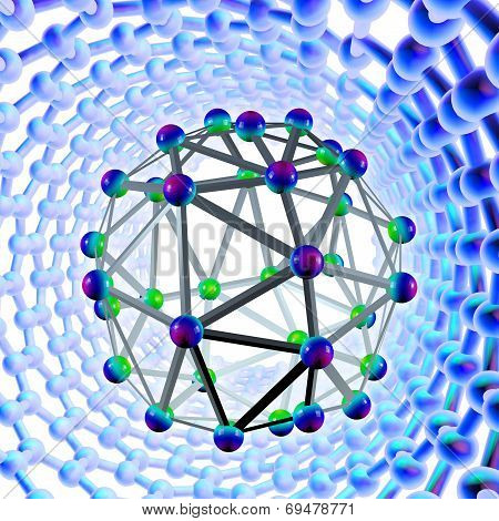 Buckyball molecule surrounded by a carbon nanotube, computer artwork