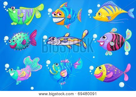 Illustration of the nine colorful fishes under the sea