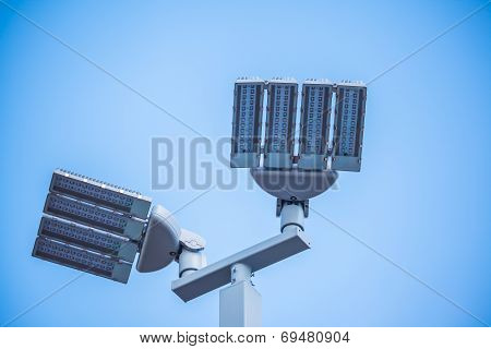 LED street lamps post on white background poster