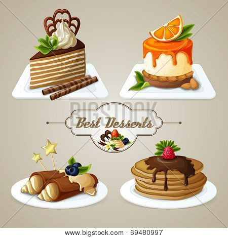 Decorative sweets best dessert set of crepes cheesecake layered cake with syrup vector illustration poster