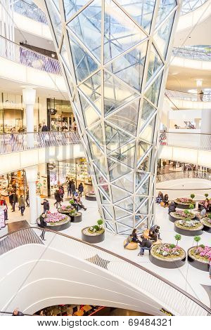 Pople Walking In The Myzeil Shopping Mall In Frankfurt